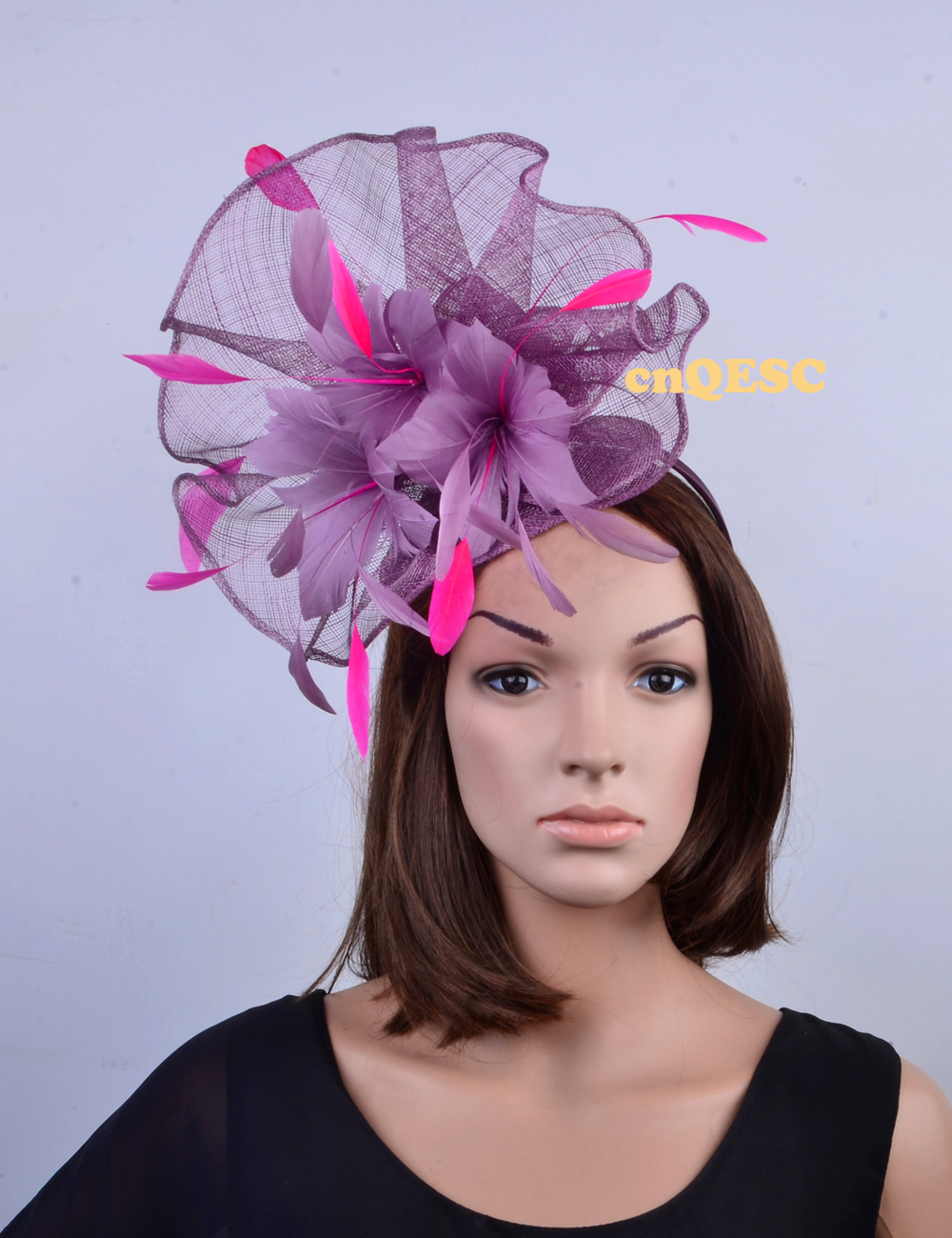 NEW Wholesale Unique design.purple pink Large feather fascinator ... 4f708ebe2cfa