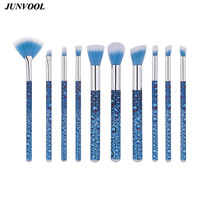 10pcs Professional Makeup Brushes Facial Care Powder Blush Make Up Brush Glitter 3D Water Droplets Blue