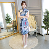 New Arrival Traditional Chinese Women Rayon Dress Vintage Button Aodai Qipao Novelty Sexy Print Flower Short Cheongsam Size XXL