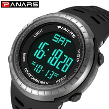 PANARS Digital Military Watch Men Sport Army Green Men's Watch 50m Waterproof Rubber Strap Electronic Wrist Watches Relogio Led bangwei military digital watch men style fashion sport army watch led electronic wrist watches men fitness pedometer smart watch