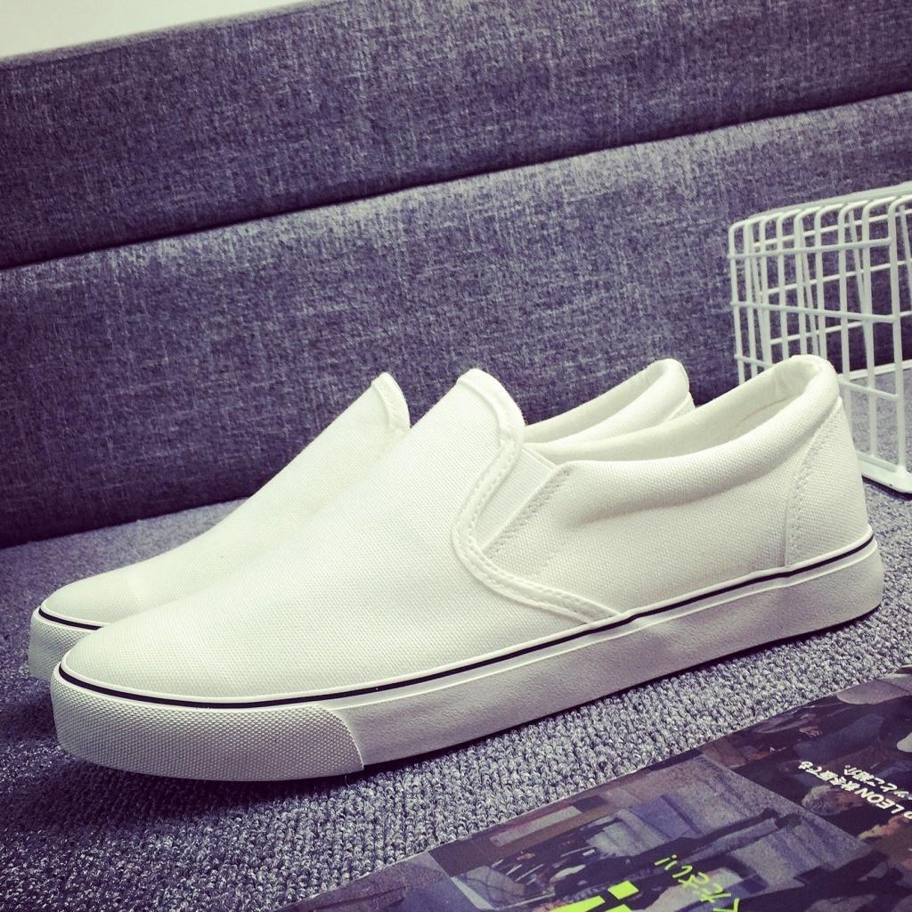 Prix pour ACHIARUSA'S GLOIRE Hommes Planche À Roulettes Chaussures En Plein Air Blanc Noir Classics Toile Sneaker Respirant Slip-sur le Sport Chaussures Taille 38-46
