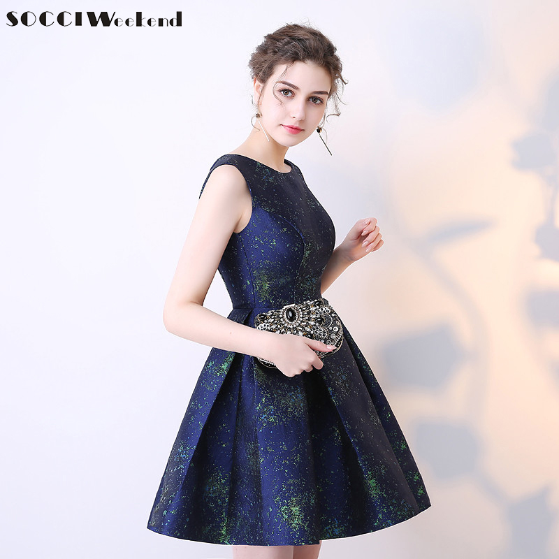 SOCCI WEEKEND Short O Neck   Cocktail     Dresses   2019 A-Line Girls Homecoming   Dress   Navy Blue Prom Formal Wedding Party Gowns Robe De