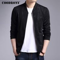 COODRONY Jacket Men 2017 New Autumn Winter Casual Stand Collar Coat Men Brand Clothing Print Rib