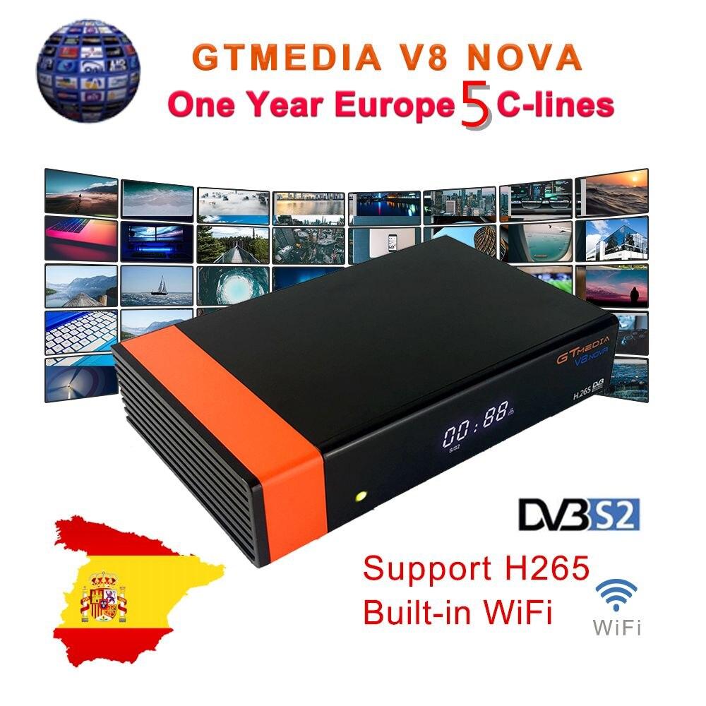 GT Media V8 Nova DVB-S2 Satellite Receiver Freesat V8 Super New Version H.265 Buil-In WIFI+1Year Europe Ccam Sat TV Box Decoder