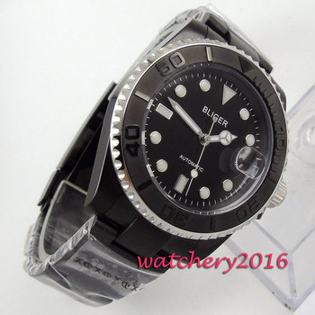 Newest Hot BRAND 40mm Bliger sapphire glass black dial PVD case date miyota automatic movement Men's Mechanical Wristwatches