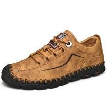 رجل أحذية من الجلد خمر حذاء كاجوال 2019 جديد وصول اليدوية الرجال Drving الشقق الذكور الأحذية عارضة الرجال المتسكعون