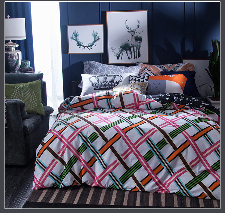 European bedding set quilt/duvet covers bed sheets bedspreads full queen size Adults home decor pink green orange plaid checked