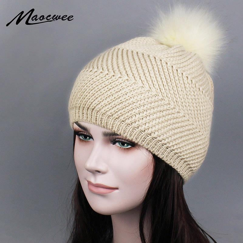a8cf6f64d52 Wholesale Faux Mink Fur Pom Poms Knitted Hat Ball Beanies Winter Hat For Women  Girl  S Hat Skullies Female Ski Cap gorro 2017