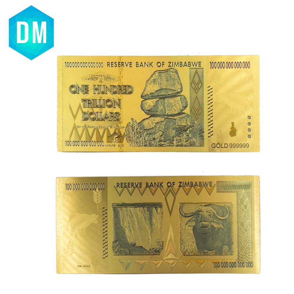 Us 7 14 20 Off Zimbabwe 24k Colorful Gold Banknote Collectible One Hundred Trillion Dollar Note Money Artwork 10pcs Bills Worth Collection In