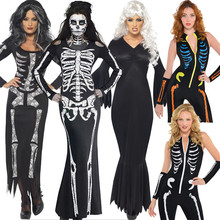 2017 Sexy Halloween Costumes Ghost Festival Horror Skeleton Conjoined Gowns Party Performance Dress Cosplay Clothes Women