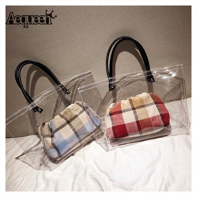 Aequeen Women S Fashion Pvc Clear Tote Bag Por Plastic Handle Summer Beach Handbags Transparent Jelly