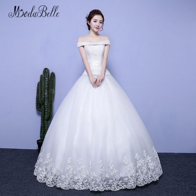 0b34dd2ba980 modabelle Boat Neck Ball Gown Women Wedding Dresses For Brides Off Shoulder  Back Lace Up White Sleeveless Lady Bridal Dress 2018