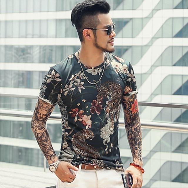 Мужская Летняя Модная хлопковая футболка с коротким рукавом с 3D принтом и цветочным принтом, мужчина-метросексуал, тонкий Быстросохнущий Европейский Стиль, повседневный Футболка