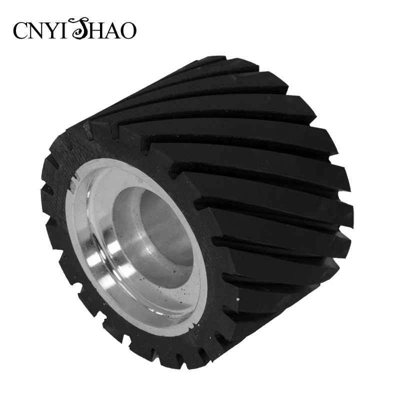 CNYISHAO Aluminum Fine Polishing Wheel 150*100*25mm Serrated Rubber Contact Wheel Abrasive Belt Set for Angle Grinder