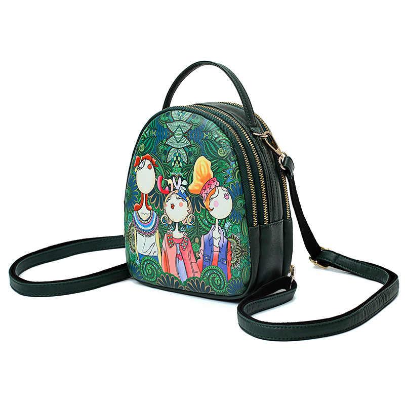 Бренд Фабра, новинка, Женский мини-рюкзак, зеленый лес, мультяшная задняя Сумка, полукруг, кожа, маленькие сумки на плечо, женские повседневные Рюкзаки