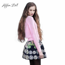Alglam Doll 2 Piece Set Women Suits Knitted 2016 Winter Cute Free Size Ladies Sweater Top + Vintage Embroidery Skirt Saia Faldas
