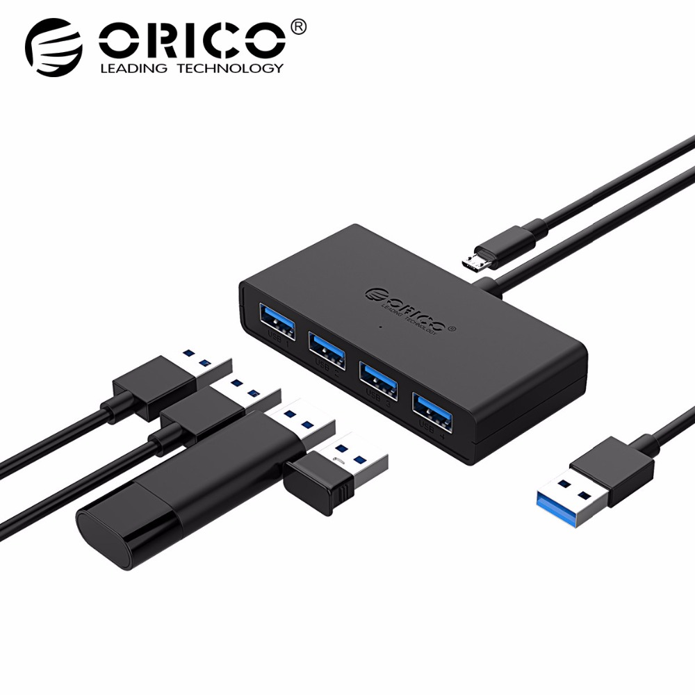 ORICO USB Mini USB 3,0 HUB 4 fuente de alimentación de Puerto OTG Micro USB interfaz de alimentación para el ordenador portátil MacBook ordenador Tablet OTG USB HUB