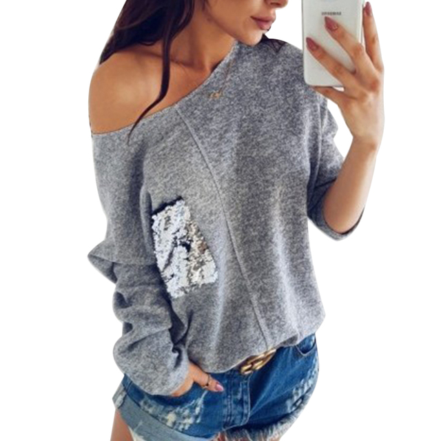 89daf8ba980 Off Shoulder Hoddies Women With Sequin Pockets Long Sleeve Autumn  Sweatshirt Ladies Batwing Sleeve Tops Loose Casual Pullovers