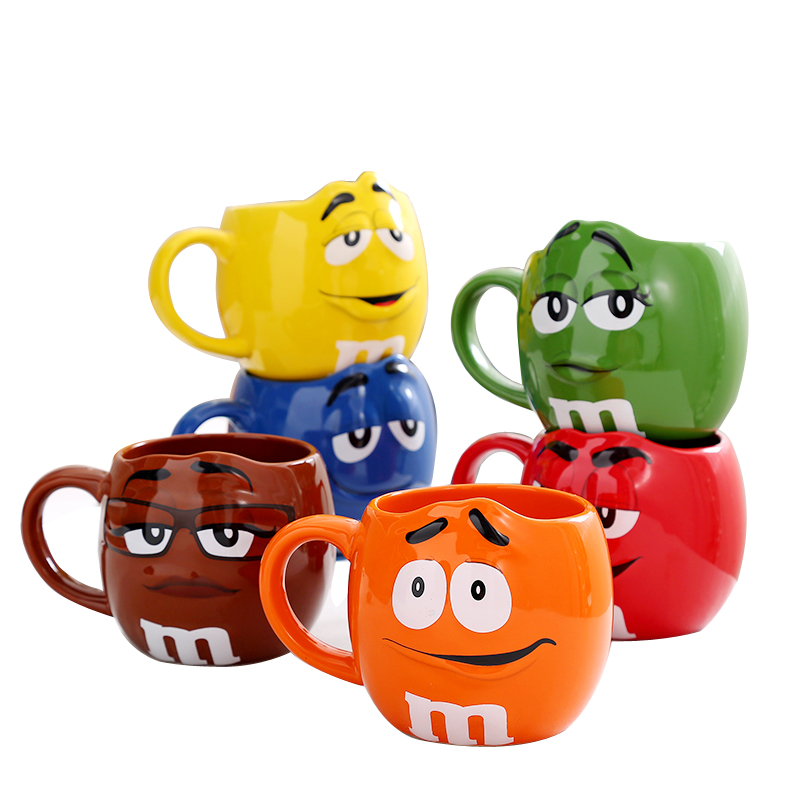 M&M coffee mugs ceramic tea cups and mugs with spoon large capacity cute expression mark creative drinkware taza de m&m