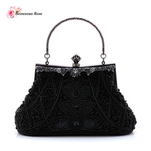 2016 Vintage Women Beaded Totes Handbags Ladies Sequined Purses Evening Wedding Clutch Totes Bags Small Shoulder Messenger Bags