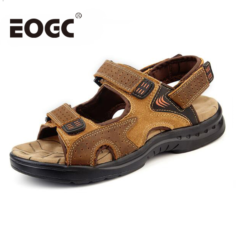 Lelaki musim panas sandal kulit asli Flat Shoes Beach Sewing Designer - Kasut lelaki