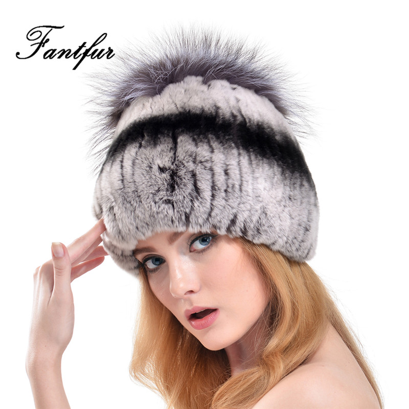 FANTFUR Women Genuine Rex Rabbit Fur Cap With Fox Fur Pom Poms Beanies Fashion 2017 Winter Warm Knitted Real Rabbit Fur Hats цены онлайн