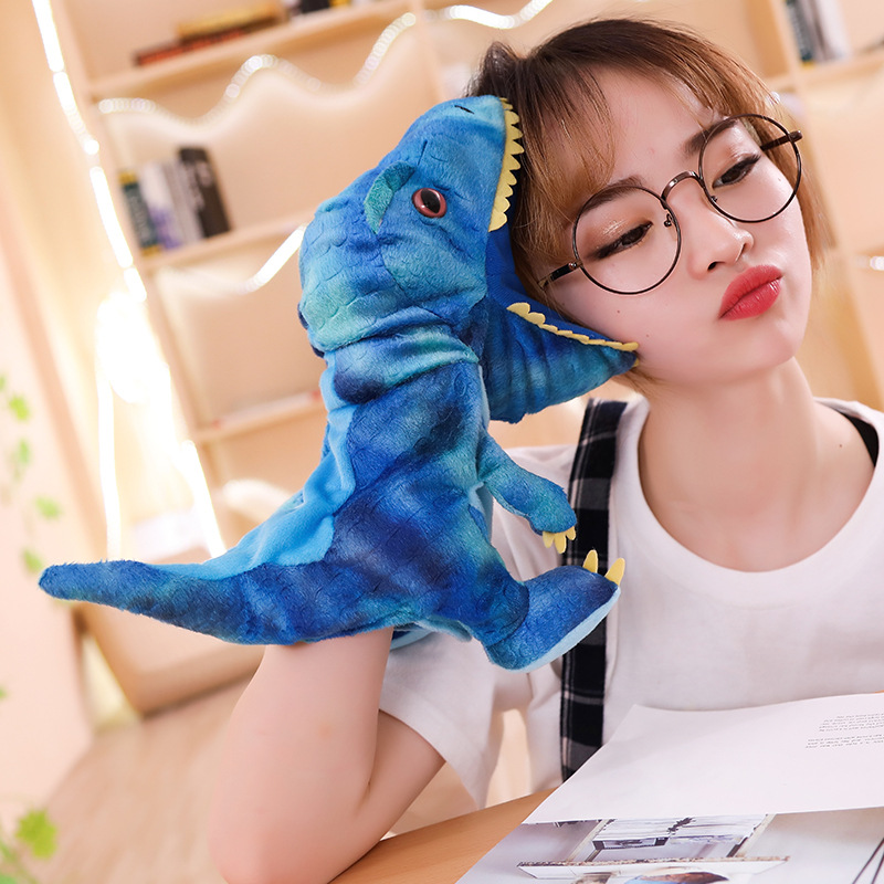 New 1pc 30cm Cute Carton Animal Hand Puppet Toys Plush Dinosaur Puppets Kawaii Doll For Baby Kids Birthday Gift For Children