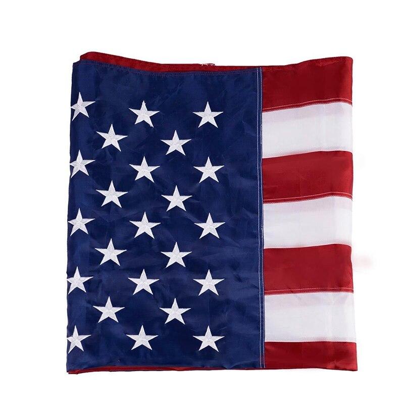 1pc Lootus 5'x8' drapeau bannière américaine 210D Nylon étoiles brodées rayures cousues sans mât drapeau National américain