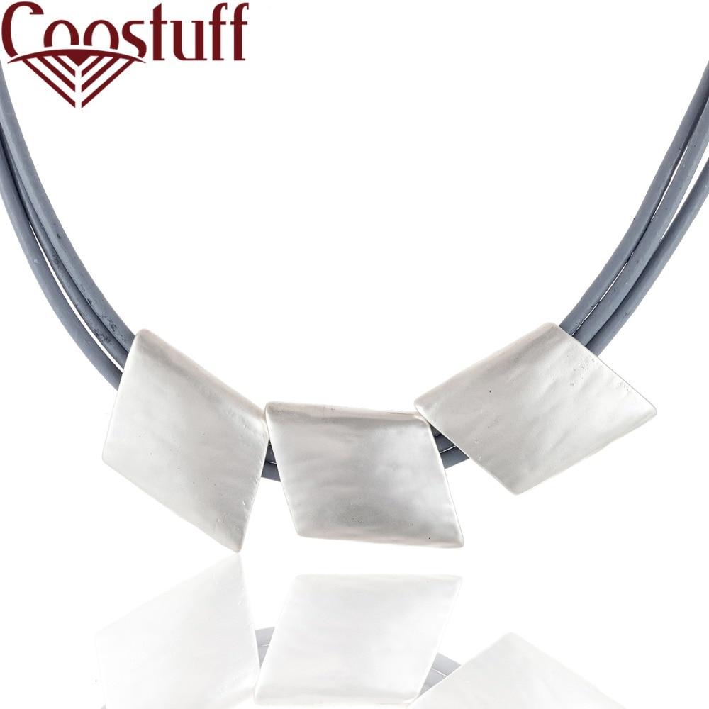 9a20b36451a1 2018 de la joyería de las mujeres gris de cuero collares collar con colgante  de plata collares y colgantes collares mujer colar gargantilla