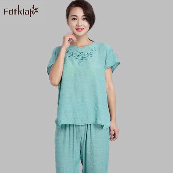 2016 Nueva Primavera Verano Del Algodón Pijamas Mujer Pijamas Femme Homewear Manga Corta Pijamas Para Mujer ropa de Noche Fija Chándal E0192