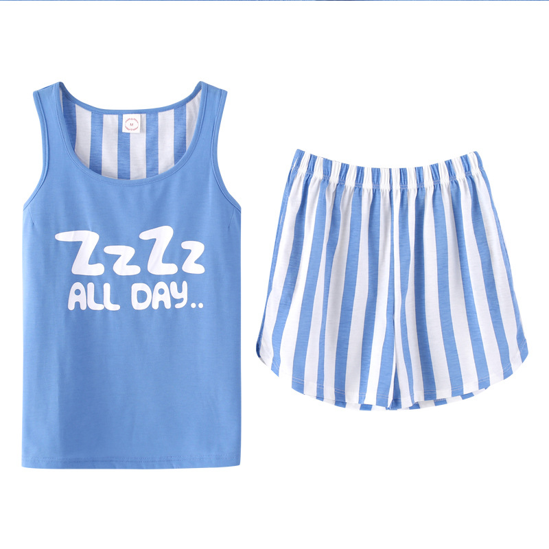 Summer 2018 Tank Top Striped   Pajamas   Women Girls   Pajama     Set   Elastic Waist Shorts Pockets Cotton Lounge Sleepwear pyjamas S85301