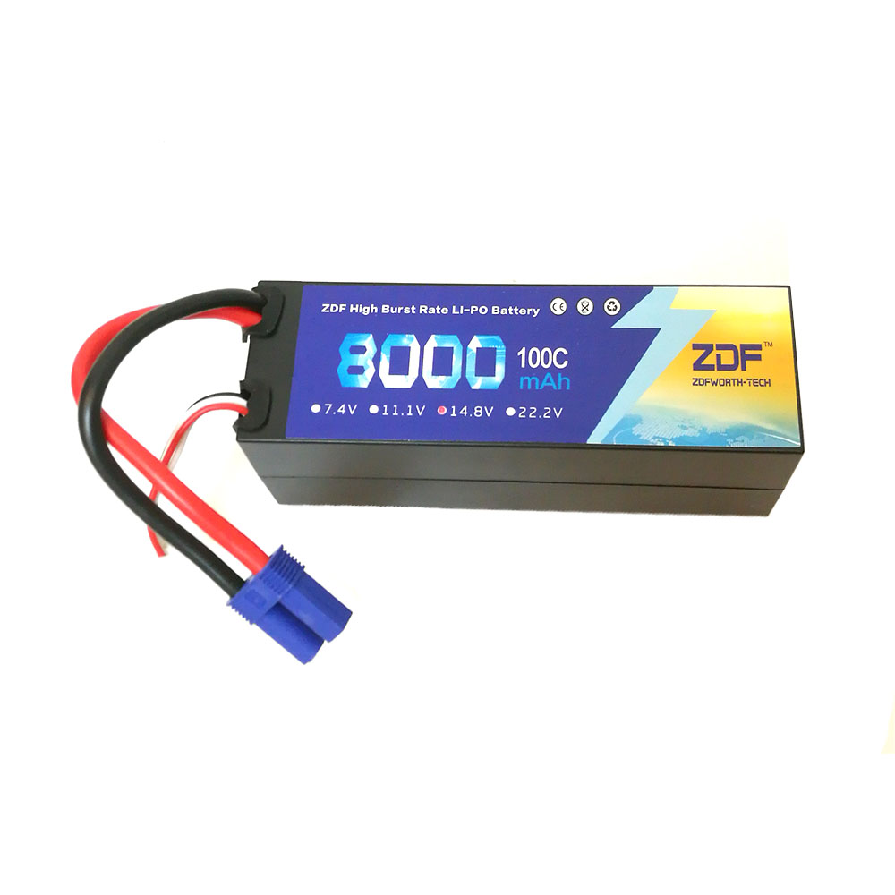 High power 14.8v 4s 8000mah 100C max 200C ZDF Lithium batteries EC5 plug Hard Case for RC Car Helicoptes Airplanes Drone parts image
