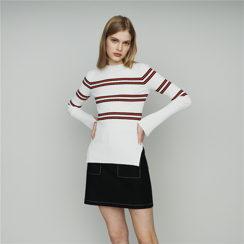 Women Sweater 2019 Spring and Summer Stitching Striped Slim Slit Sweater