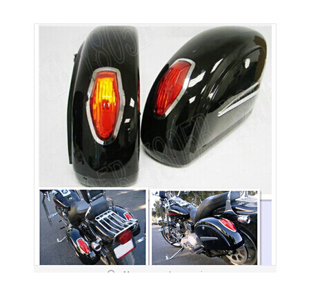Black Motorcycle Touring Cruiser Hard Saddlebags Trunk Lights Luggage W Mounting For Street Bike
