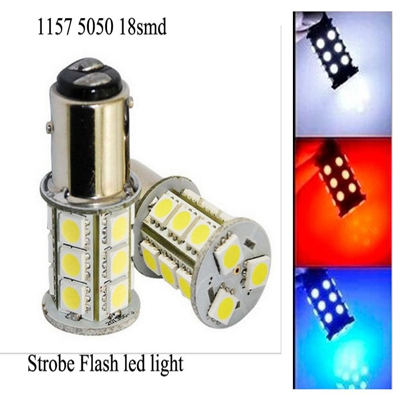 2pcs/lot 1157 strobe bulbs BAY15D 5050 18SMD 12V LED Light Car Turn Brake Strobe Flash bulb tail light Led Bulb 1157 bay15d 5050 30 smd 4w 6500k 360lm led car light bulbs dc 14v pair