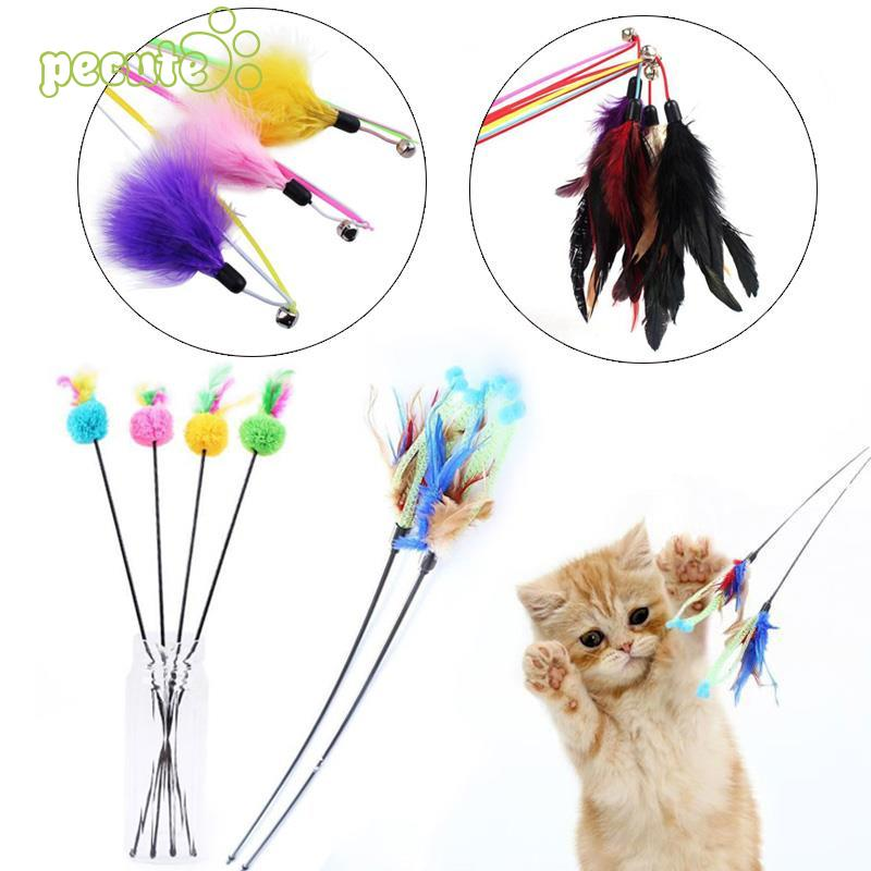 Cat Kitten Toy Pet Ball Rod Wand Teaser Feather Play Games Random Color.