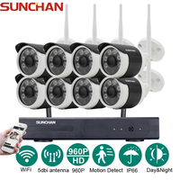 SUNCHAN 8 Channel HD 8CH NVR 960P Wireless CCTV System Outdoor Day Night Vision Security Camera