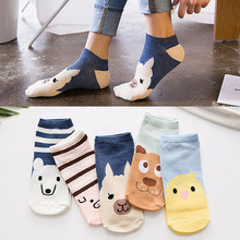 Breathable Cute Animal Printed Socks for Girls 5 Pairs Set