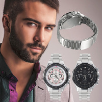 Men's Fashion Luxury Durable Stainless Steel Big Dial Analog Quartz Wrist Watch Big Round Shape Case New Hot Selling
