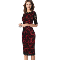 New 2016 Elegant Women Wedding Cocktail Half Sleeve Slimming Lace Dress Patchwork Knee Length Casual Bodycon