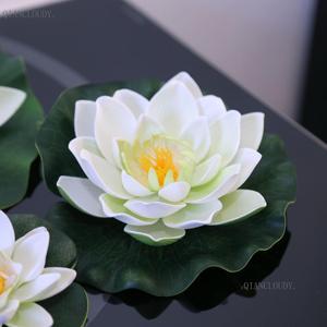 Искусственные белые листья лотоса, цветы, водяные водоёмы, лист лотоса, искусственная лилия, плавающий бассейн, для дома, сада, свадьбы, D24