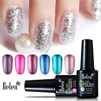 Belen Super Bling Platinum Gel Nail Polish Glitter Varnish 15 Colors UV LED Long Lasting 10ML Free Shipping Semi Permanent