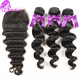7A Grade Peruvian Virgin Hair With Closure 4pcs/lot Peruvian Loose Wave With Lace Closure 3 Bundle Human Hair Weaves Extension