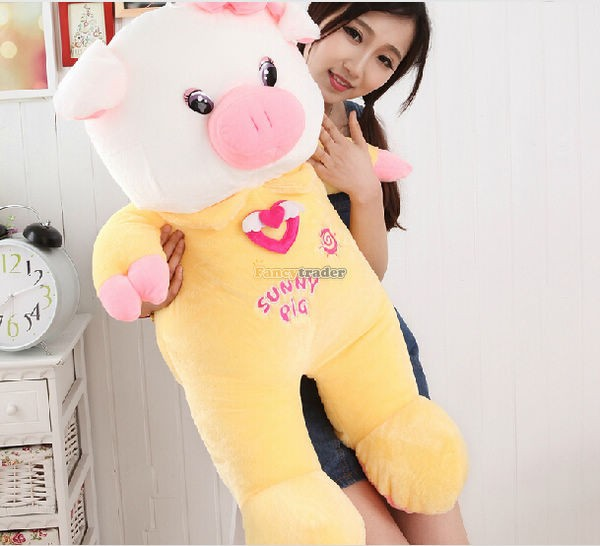 Fancytrader 35\'\' 90cm Jumbo Plush Super Lovely Stuffed Soft Pig, 2 Colors, Free Shipping FT50498 (2)