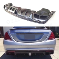 For Mercedes Benz S Class W222 S63 S65 AMG 13 19 B Style Carbon Fiber Rear Bumper Lip Diffuser Spoiler with Exhaust Muffer Tips