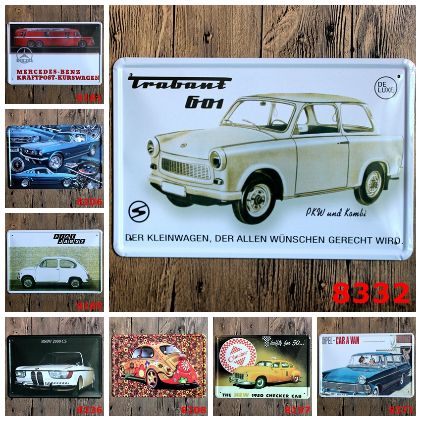 CAR Sign Logo Plaque Vintage Metal Painting Wall Sticker Iron Sign ...