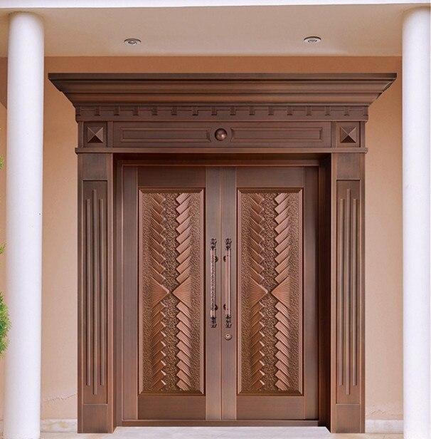 Bronze door security copper entry doors antique Copper Retro Door Double Gate Entry Doors H c13