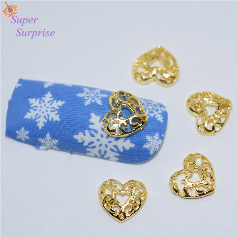 50pcs Manicure Golden Love heart 3D Nail Arts
