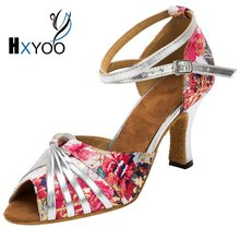 HXYOO 5 Kinds Of Heel Heights Latin Shoes For Dance Women Ballroom Salsa Shoes Satin Soft