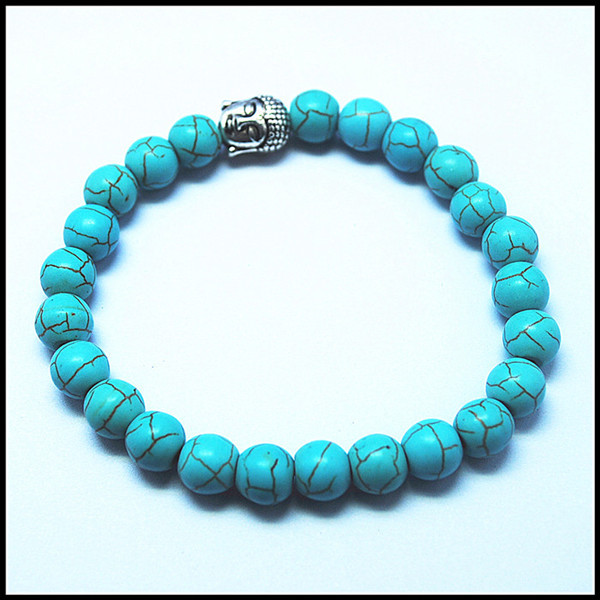 Crack blue turquoisee stone beads bracelets for women's size 8mm best wholesale price